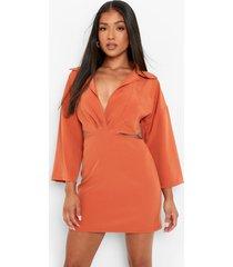 petite getailleerde blouse jurk met open zijkant, orange