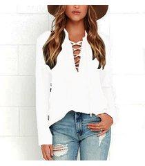 zanzea mujeres atan para arriba la blusa ocasional de la camisa v profundo giro hacia abajo tops de cuello solapa plus off white -blanco