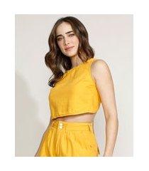 top cropped feminino equivoco com amarração alça larga decote redondo amarelo