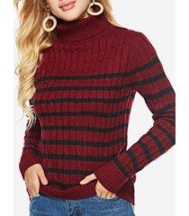 maglione casual a collo alto a righe intrecciate