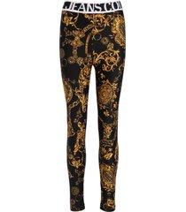 versace jeans couture black leggings with regalia baroque print