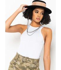 akira coffee date sleeveless high neck bodysuit