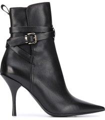 premiata crossover buckle strap booties - black