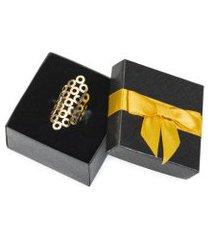 anel feminino ouro 18k regulável banhado - mil e uma noites