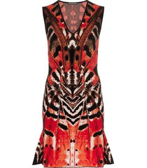 alexander mcqueen butterfly jacquard mini dress - 6540 black/red