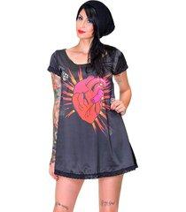 vestido stooge heart spiked preto
