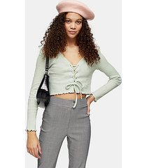 petite mint ribbed lace up cardigan - mint