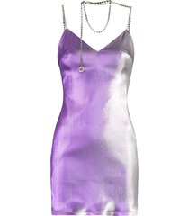 area crystal-necklace mini dress - purple