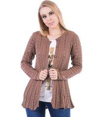 casaco tricot carlan tranã§ada com barra ondulada - branco - feminino - dafiti