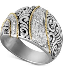 balissima by effy diamond ribbon statement ring (1/4 ct. t.w.) in 18k gold and sterling silver