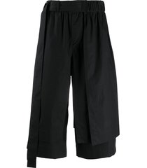 craig green layered wide leg shorts - black