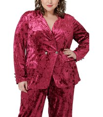 plus size women's maree pour toi crushed velvet double breasted jacket, size 24w - pink
