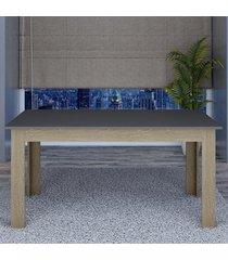 mesa de madeira 100% mdf retangular tm22 grafite/carvalho - dalla costa