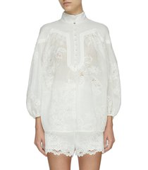 'riders' embroidered high neck blouse