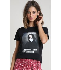 """blusa feminina """"penso, logo abstraio"""" manga curta decote redondo preta"""