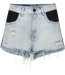 shorts john john alto gaborone jeans azul feminino (jeans claro, 50)