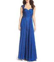 women's la femme ruched chiffon a-line gown, size 20 - blue