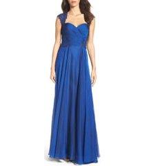women's la femme ruched chiffon a-line gown, size 2 - blue