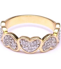anel boca santa cinco corações - ouro amarelo