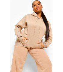 plus oversized fleeceback hoodie, taupe