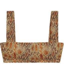 weworewhat women's printed bandeau bra top - brown multi - size l