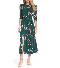 women's eliza j floral print midi dress, size 8 - green