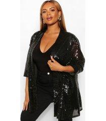 plus duster jas met driekwartsmouw en pailletten, zwart