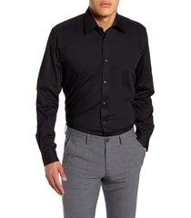 men's big & tall ted baker london sunray trim fit stretch dress shirt, size 16.5 - 36/37 - black