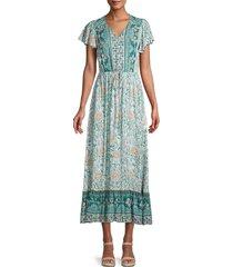 stellah women's boho tie-waist midi dress - green multi - size s