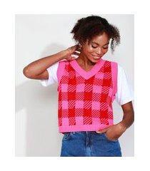 colete de tricô feminino mindset estampado xadrez vichy decote v rosa