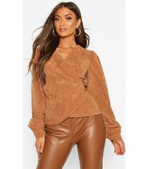 cord wrap puff sleeve top, camel