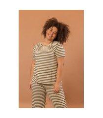 pijama longo com camiseta plus size verde