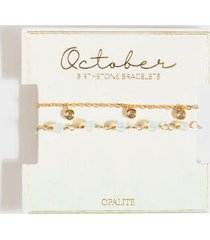 october birthstone bracelet set - light blue