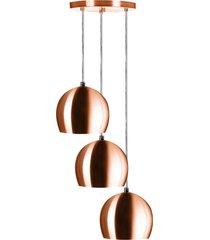 lustre pendente aluminio bola triplo 15cm new cobre