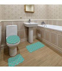 jogo de banheiro natal flamingo verde ãšnico - verde - dafiti