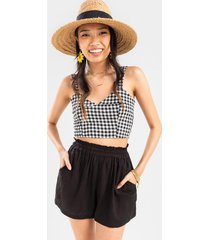 elain high waist smocked shorts - black