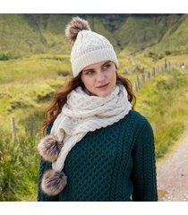 cream aran bobble hat & scarf set