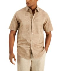 tasso elba men's regular-fit geo patchwork jacquard shirt, created for macy's