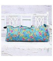 cotton travel bag, 'turquoise paradise' (india)