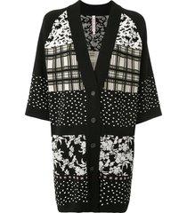 antonio marras panelled loose-fit cardi-coat - black