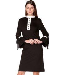 sukienka prosta z guzikami czarna