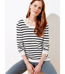 loft striped double scoop neck sweater
