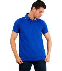 camiseta polo hamer, basica con bolsillo, para hombre color azul rey