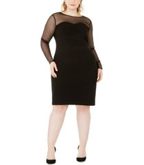 calvin klein plus size illusion-detail bodycon dress