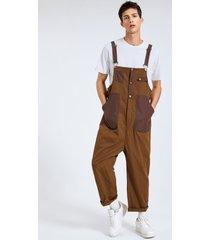 hombres moda casual color block patchwork liguero overoles mono