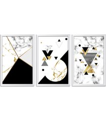 conjunto kit 3 quadro oppen house s 60x120cm escandinavo forset com vidro e moldura branca      quadro oppen house s decorativos - branco - dafiti