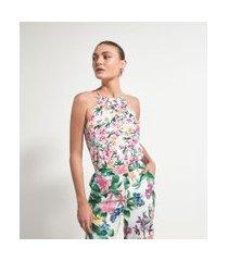 blusa regata floral em crepe com bolas no decote | cortelle | multicores | pp
