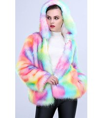 one-piece women long plush fur coat