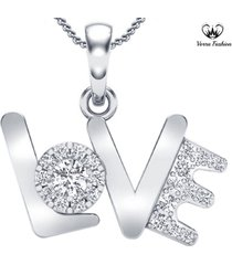 solid sterling silver 10k white gold over round cut diamond love latter pendant