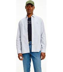 tommy hilfiger men's regular fit organic cotton peached stripe shirt navy/white - xl